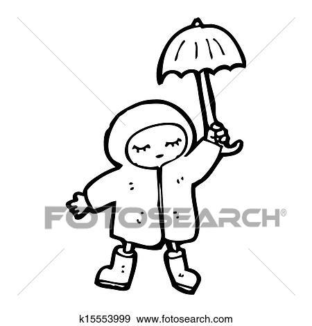 Dessin anim girl dans manteau pluie banque d - Manteau dessin ...
