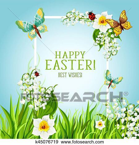 Clip Art Of Easter Floral Frame With Spring Flower Card Design