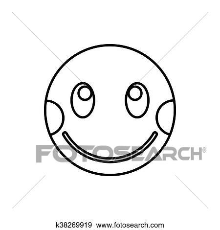 Imbarazzato Emoticon Con Guance Allineate Testo Icona Archivio Illustrazioni