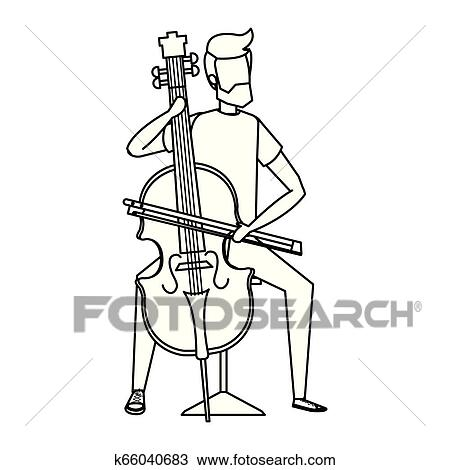 Man Playing Classic Cello Instrument Clipart K66040683