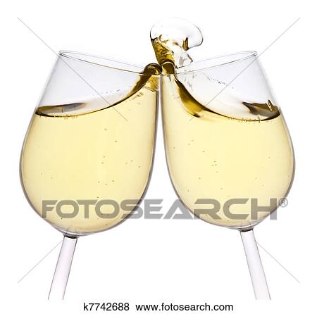 merry christmas and happy new year pair of champagne flutes making a toast isolated on white background