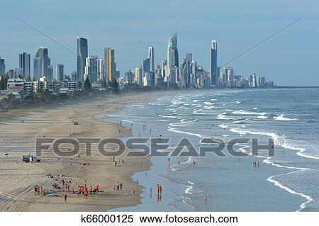Large Gold coast  Australia Skyline Print Beach Queensland landscape