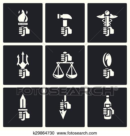 Clipart Of Symbols Of The Gods In Greek Mythology Icons Set