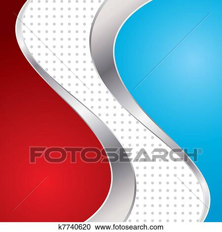 Vector Illustration Colorful Abstract Background Trendy Blue And Red Wave With Metal Frame Clipart
