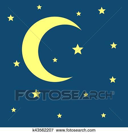 سهم التوجيه قمر الهلال أيضا النجوم الليل ايقونة Clip Art K43562207 Fotosearch
