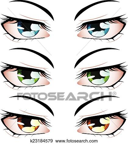 Set Of Manga Anime Style Eyes Different Colors