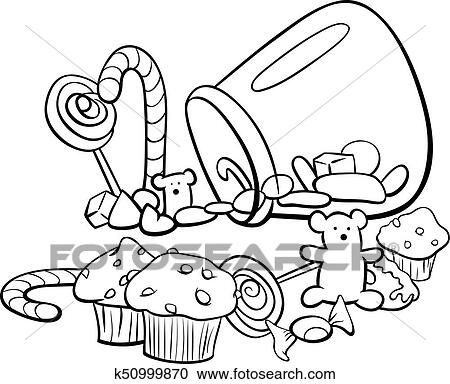 Candy Group Cartoon Coloring Book Clipart K50999870 Fotosearch