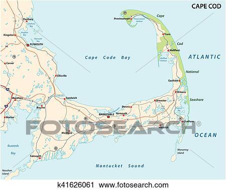 Clipart of cape cod map k41626061 - Search Clip Art, Illustration ...
