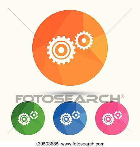 Cog settings sign icon  Cogwheel gear symbol  Clipart