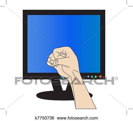 Clip Art   faust, bedroht, monitor, ausdrücken, starke, wut