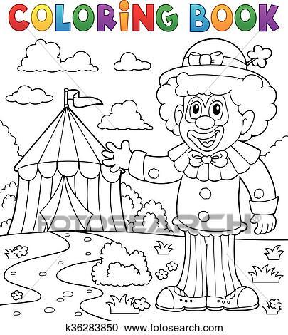 Clipart - libro colorear, payaso, cerca, circo, tema, 1 k36283850 ...