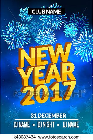clipart new year party poster design with fireworks light new year disco flyer template