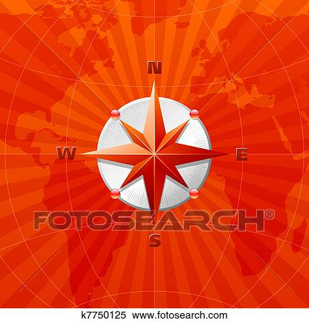 Clipart Of Red Compass Rose On A World Map Background K7750125