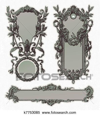 Clipart of Vintage engraved decorative ornate vector frames k7753085 ...