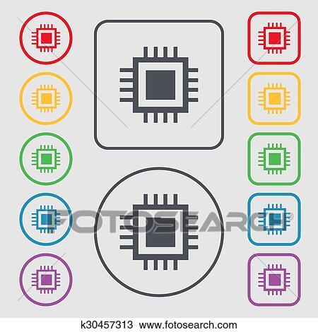 Clipart - zentraleinheit, icon., technologie, schema, kreis, symbol ...