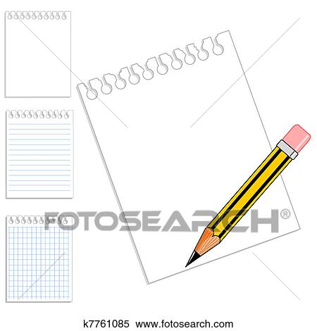Clipart Of Blank Notebook Paper Pencil K7761085 Search Clip Art