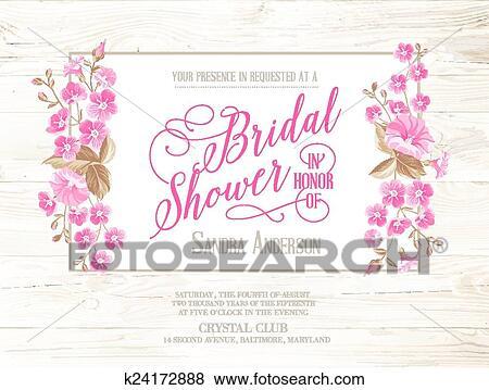 bridal shower invitation with ivory background on wooden pattern vintage floral invitation for spring or summer bridal shower vector illustration