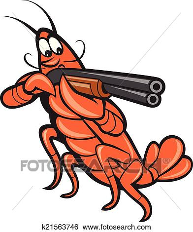 clip art of crayfish lobster aiming shotgun cartoon k21563746 rh fotosearch com crawfish clipart crayfish clipart free
