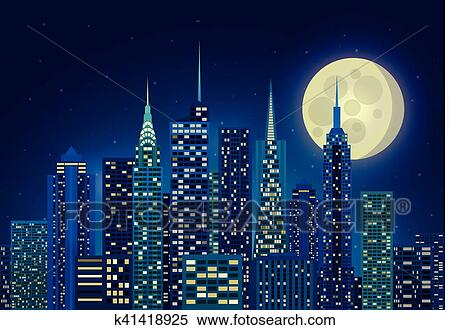 Illustration Of Night City Clipart K41418925 Fotosearch