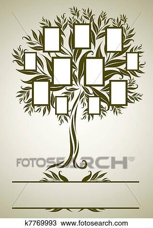 Dibujo vector rbol geneal gico dise o con marcos - Diseno arbol genealogico ...