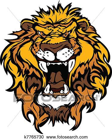 Clipart lion t te dessin anim mascotte illustrati k7765730 recherchez des clip arts - Tete de lion dessin facile ...