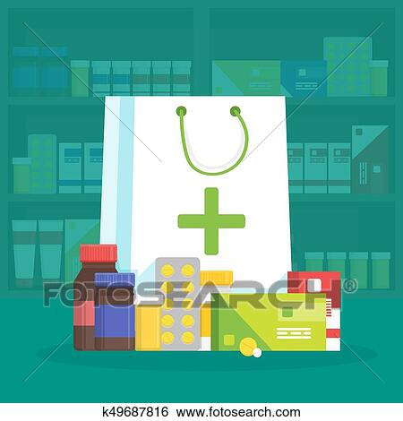 clip art of modern interior pharmacy and drugstore sale of vitamins