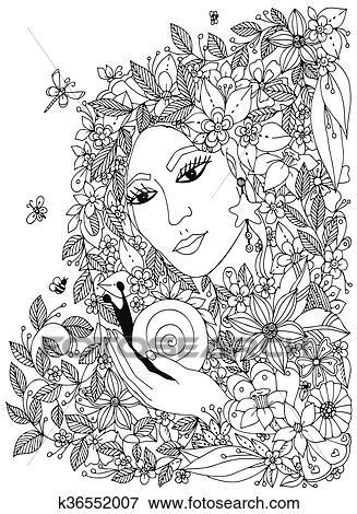 Clip Art - mujer hermosa, con, caracol, en, el, colors., diseño ...