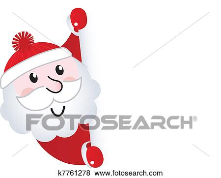 clip art of santa claus holding blank banner sign isolated on white