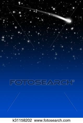 Simple Bleu étoilé Ciel Nuit Fond à étoile Filante Queue Dessin