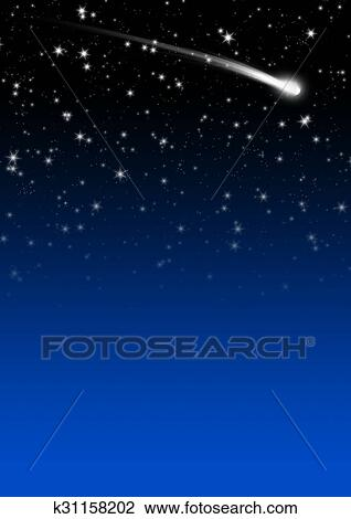 Simple Blue Starry Night Sky Background with Falling Star Tail Drawing