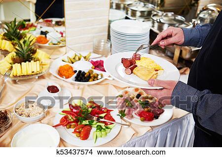 Suédois Buffet Style Petit Déjeuner Manger Image