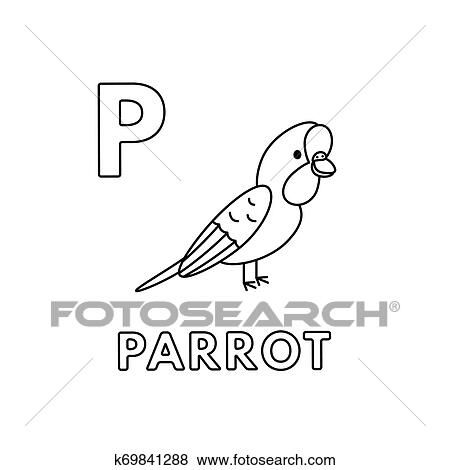 Vector Cute Cartoon Animals Alphabet. Parrot Coloring Pages ...