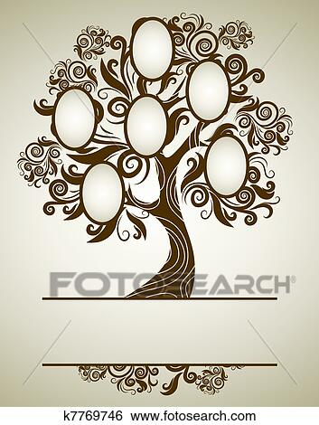 Stock Illustration of Vector family tree design with frames k7769746 ...