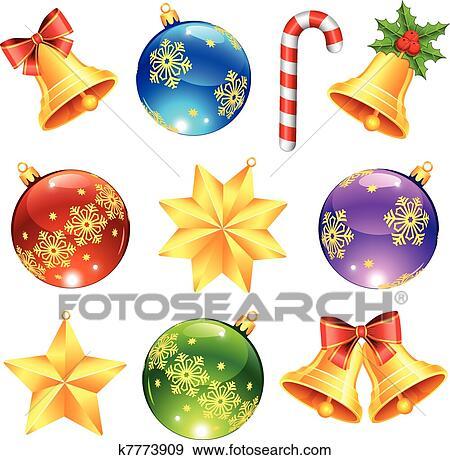 Christmas Ornament Clip Art.Bright Christmas Decorations Clip Art