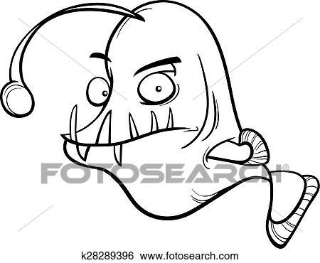 Buckel Anglerfish Farbung Seite Clip Art K28289396 Fotosearch