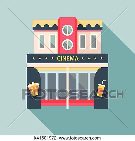 Clipart - cine, edificio teatro, detallado, plano, icon ... Cinema Building Cartoon