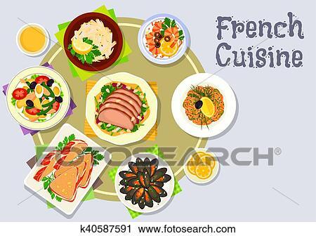 Cuisine Francaise Diner Plats Icone Pour Menu Conception Clipart