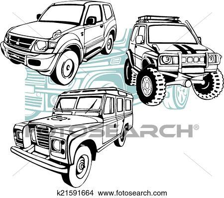 Clipart fuoristrada automobili vettore set for Jeep da colorare