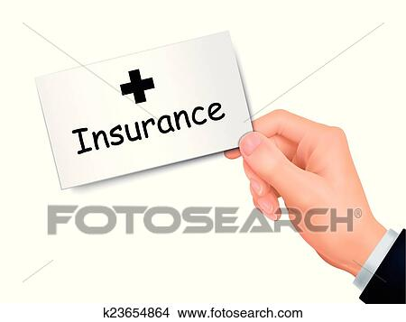 clipart insurance card in hand fotosearch search clip art illustration murals