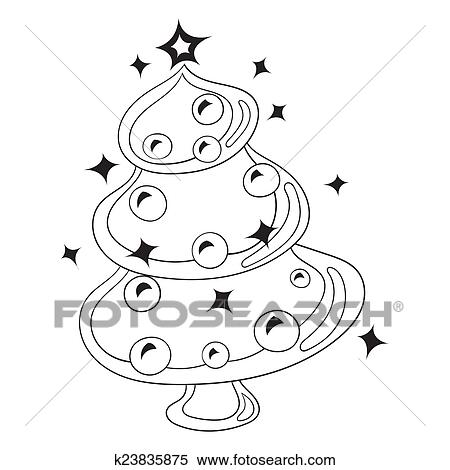 Weihnachtsbaum Schwarz Weiß.Schwarz Weiß Karikatur Vektor Abbildung Weihnachtsbaum Mit Weihnachten Spielzeuge Und Balls Clipart