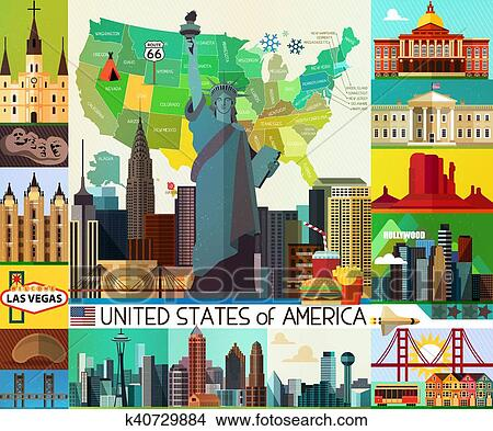 Usa Travel Map Clipart K40729884 Fotosearch