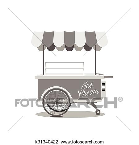 Vintage Ice Cream Cart Clipart K31340422 Fotosearch