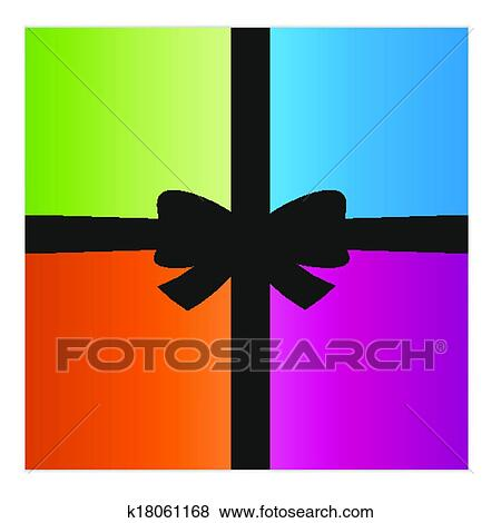 Clip Art Of Wrapped Gift Or Gift Card K18061168 Search Clipart