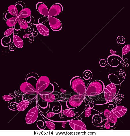 Clipart Of Abstract Purple Flower Background K7785714 Search Clip