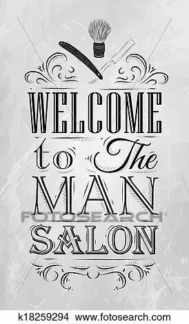 Dessins Affiche Salon Coiffure Accueil Charbon K18259294