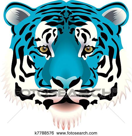 clip art of blue tiger head k7788576 search clipart illustration rh fotosearch com tiger head clip art toothless tiger head clipart black and white