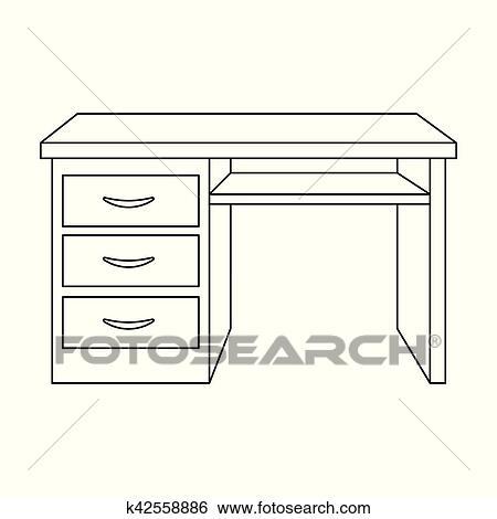 clipart bureau bureau ic ne dans contour style isol blanc arri re plan meubles. Black Bedroom Furniture Sets. Home Design Ideas