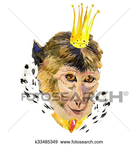 Stock Illustration Of Closeup Watercolor Portrait Of Monkey With A
