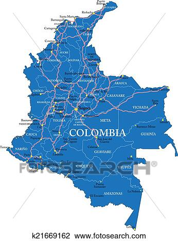 Colombia Map Clipart K21669162 Fotosearch
