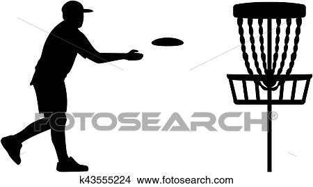 Clipart Of Disc Golf Player Throwing A Disc In The Basket K43555224